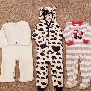 Other - 3 Boys Winter Fleece Bodysuits Play Pajamas 18-24m